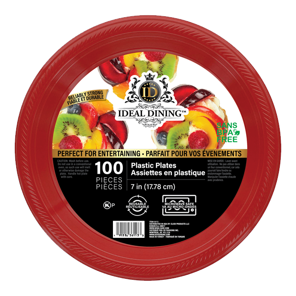 Ideal Dining Plastic Plate 7in Red 100CT