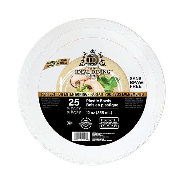 Ideal Dining Plastic Bowl 12oz White 25CT