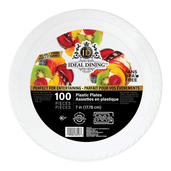 Ideal Dining Plastic Plate 7in White 100CT