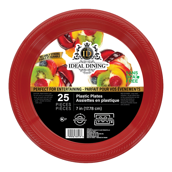 Ideal Dining Plastic Plate 7in Red 25CT
