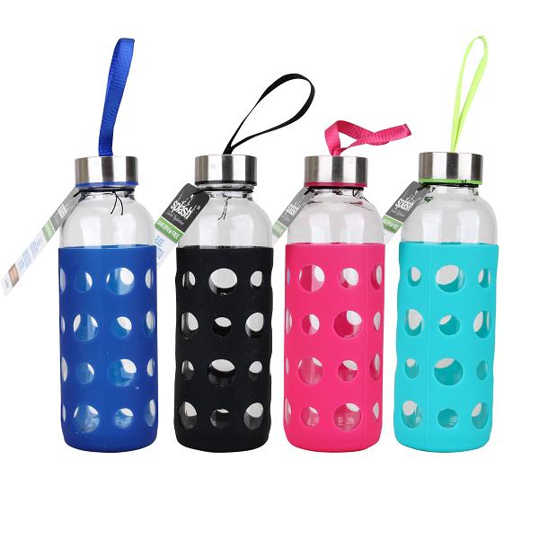 Splash Glass Bottle 14oz Silicone Sleeve