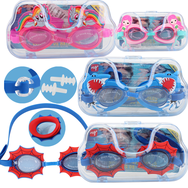 Water World Swimming Goggles Kids Big Case