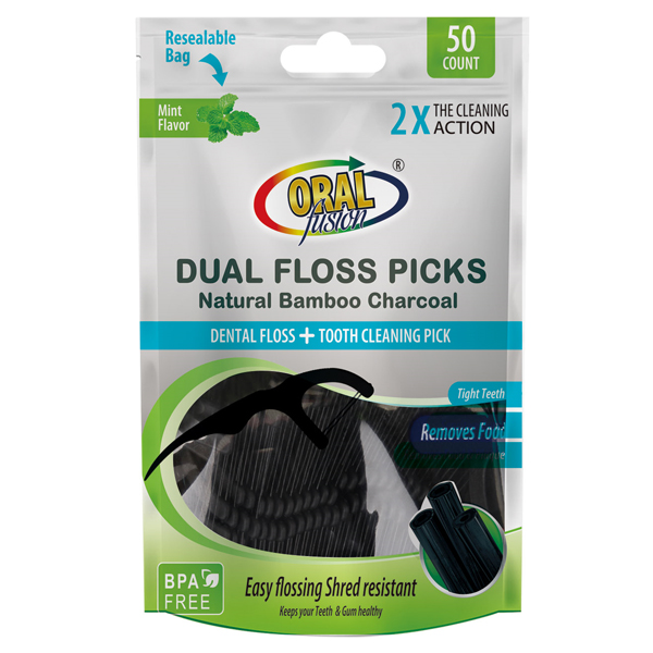 Oral Fusion Floss Picks 50CT Charcoal
