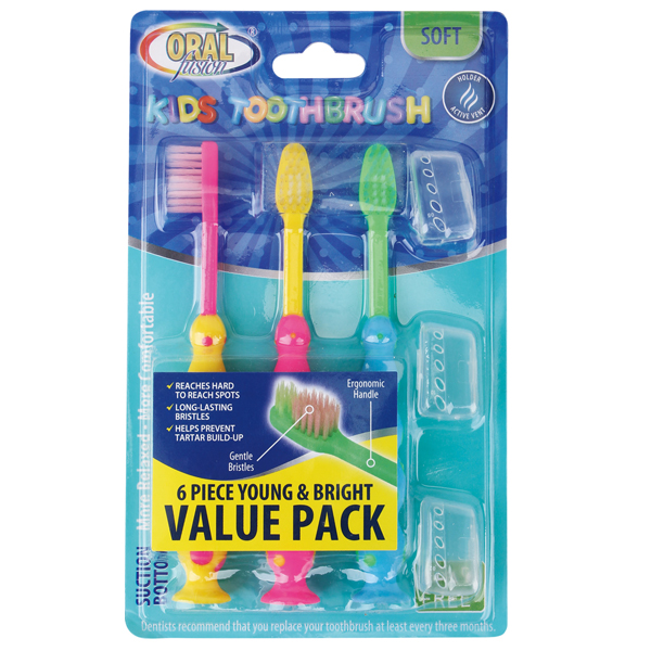 Oral Fusion Toothbrush Kids 6PK w/ Suction Dots