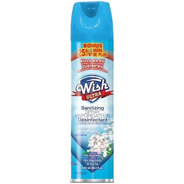Wish Sanitizing Spray Aerosol 20.29oz Fresh Linen & Lilac