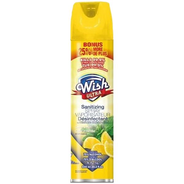 Wish Sanitizing Spray Aerosol 20.29oz Lemon & Mint