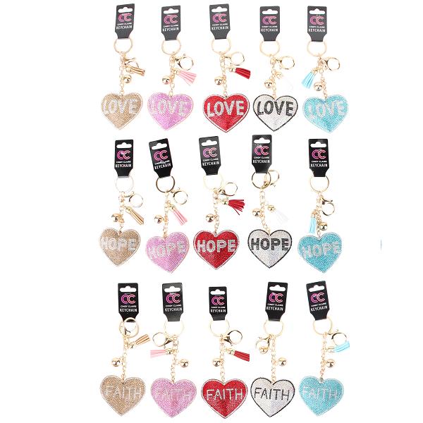 CC Keychain Heart Bling Bling w/ Words