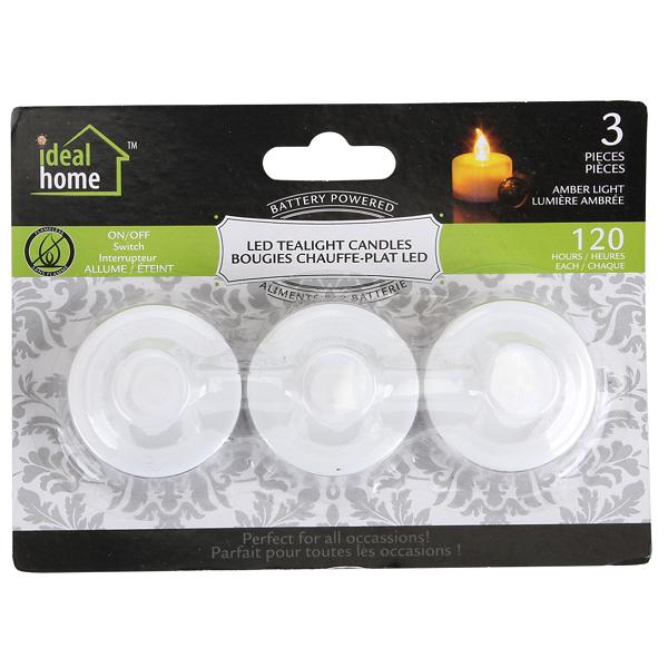 Ideal Home LED Tealight 3PK Amber Light