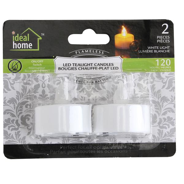 Ideal Home LED Tealight 2PK White Light