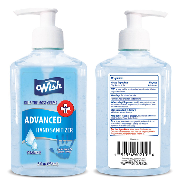 Wish Hand Sanitizer 8oz Regular Vitamin E Turkey