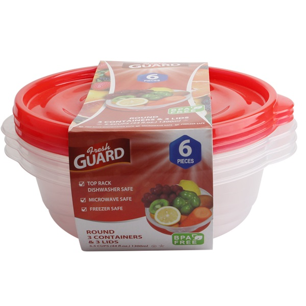 Fresh Guard Storage Container Red Round 43.96oz 6PK