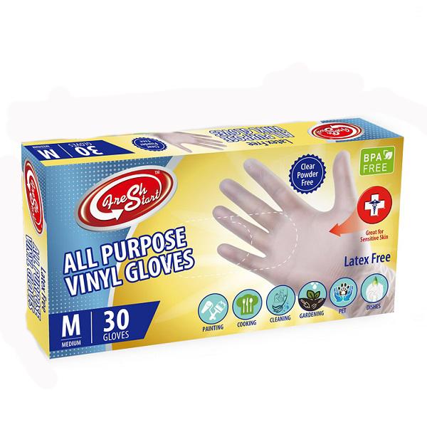 Fresh Start All Purpose Vinyl Gloves 30CT Medium