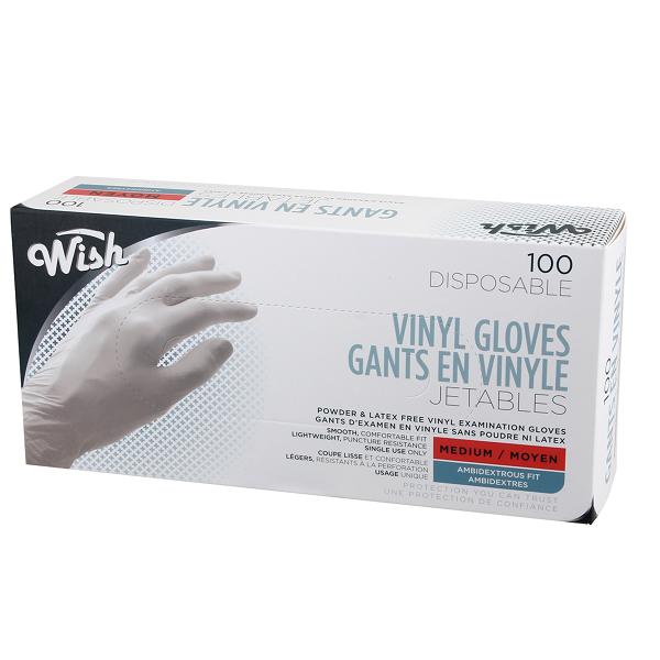 Wish All Purpose Vinyl Gloves 100CT Medium
