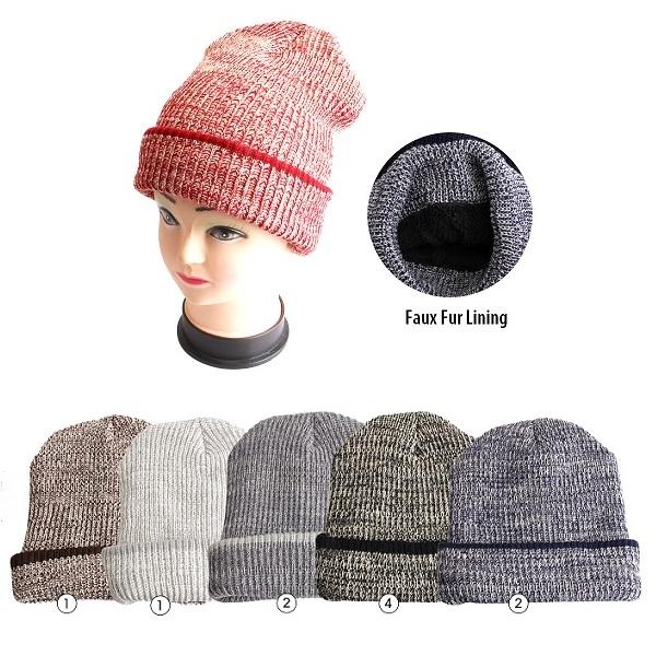 Thermaxxx Winter Hat Marled w/ Faux Fur Lining