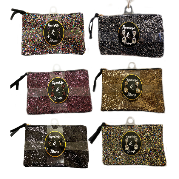 Fashion Glitter Bag 8x5in w/ Earrings
