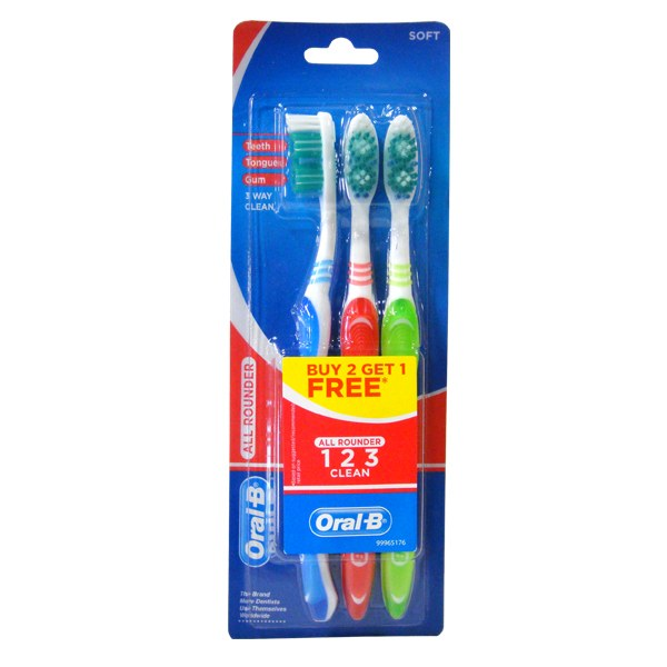 Oral-B Toothbrush 123 3PK Soft