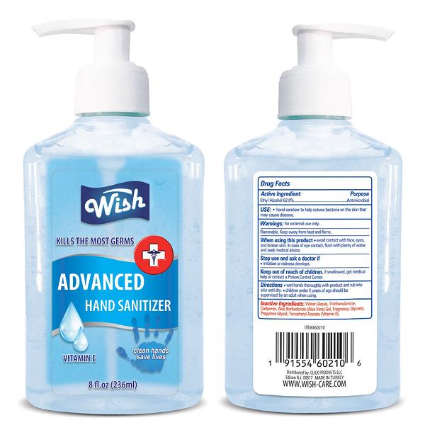 Wish Hand Sanitizer 8oz Regular Vitamin E Turkey