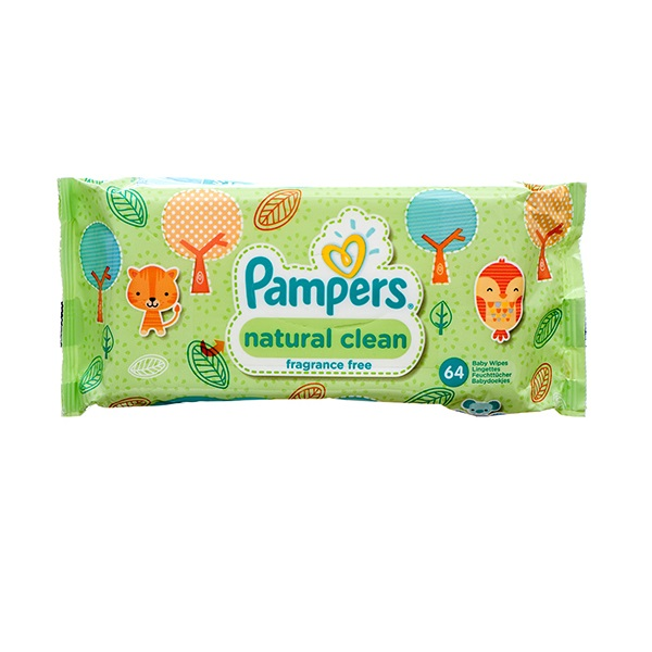 Pampers Wipes 64CT Natural Clean