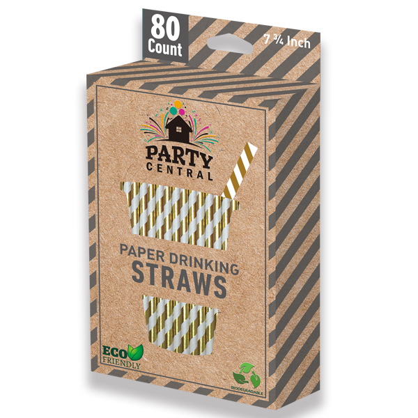 Party Central Paper Straws Gold 80CT