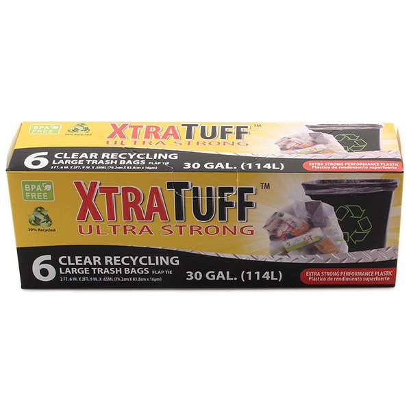 XtraTuff Trash Bag Box 30GAL 6CT Clear