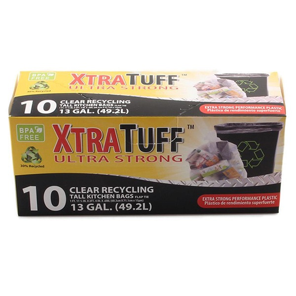 XtraTuff Trash Bag Box 13GAL 10CT Clear