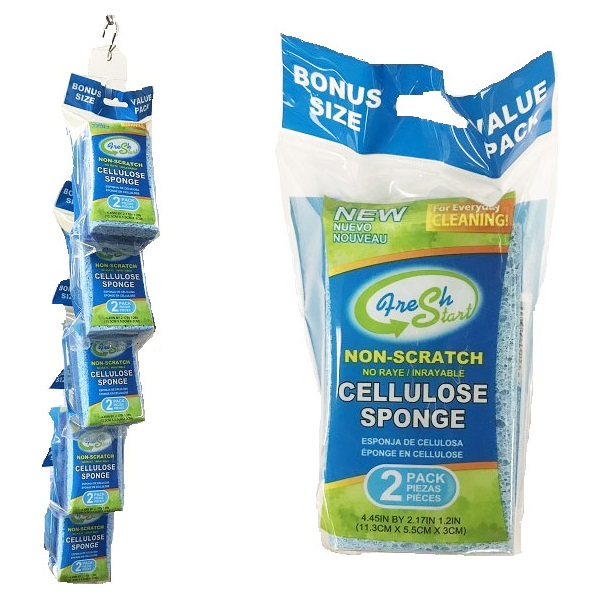 Cellulose Sponges 2PK Non-Scratch Blue w/ Clip Strip