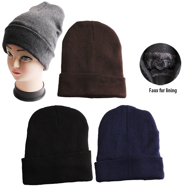 Thermaxxx Winter Hat Assorted Colors w/ Faux Fur Lining