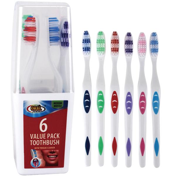 Oral Fusion Toothbrush 6PK Medium w/ Holder