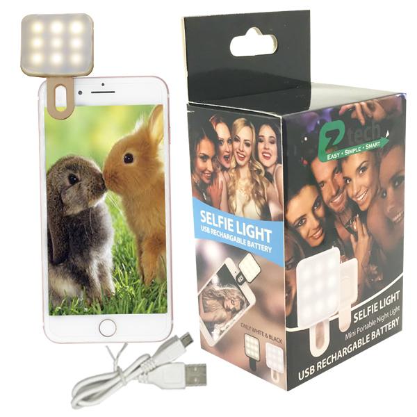 EZ-Tech Selfie Light USB Rechargable Battery White