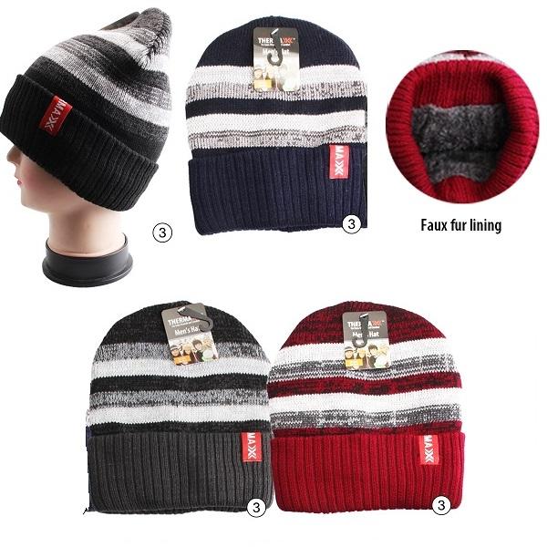 Thermaxxx Winter Knit Hat Men Stripes Light w/ Faux Fur Lini