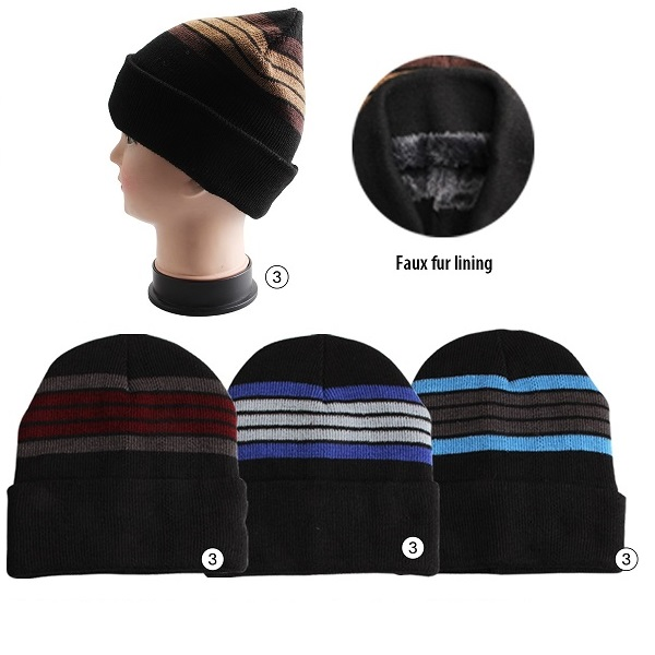 Thermaxxx Winter Knit Hat Men Stripes Top w/ Faux Fur Lining