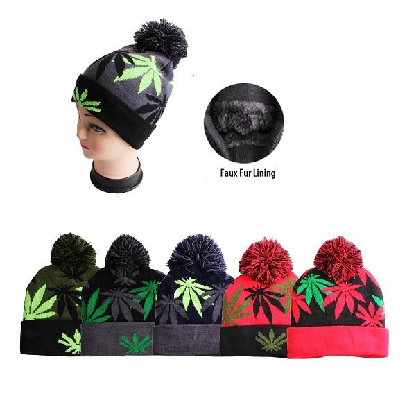 Thermaxxx Winter Hat Pom Pom Leaf w/ Faux Fur Lining