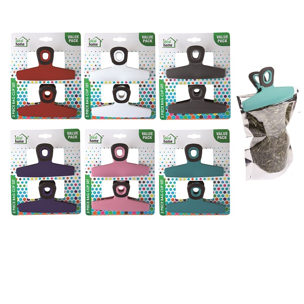 Ideal Home Bag Clip Set w/ Magnet 2PK Jumbo