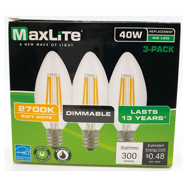 Maxlite LED Bulb 40W Candle Bulb 3PK