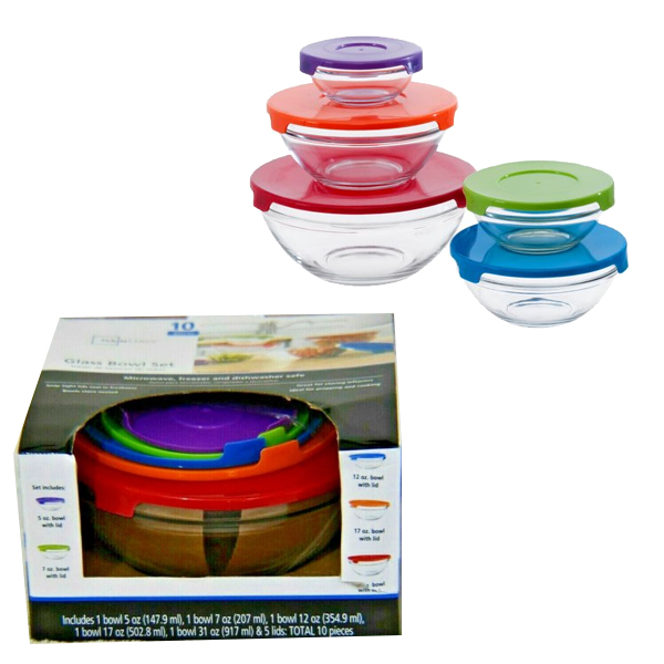Mainstays Glass Bowl w/ Lid 10PK set