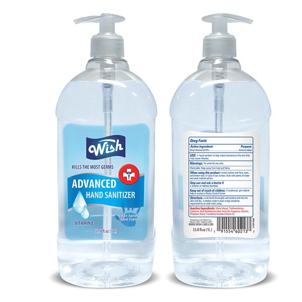 Wish Hand Sanitizer 33.8oz Regular Vitamin E Turkey