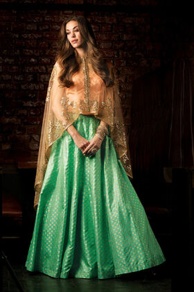 LEHENGA WITH CAPE STYLE TOP