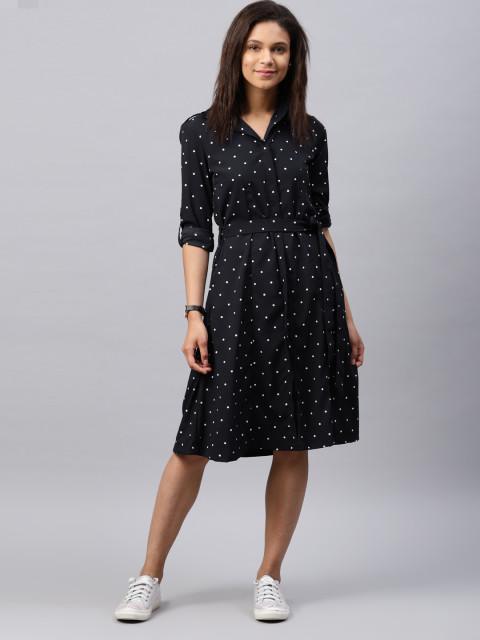Tokyo Talkies Women Navy Printed Shirt Dress