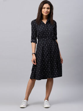 Tokyo Talkies Women Navy Printed Shirt Dress