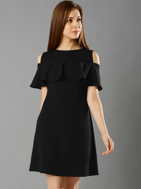 FabAlley Women Black Cold Shoulder Solid A-Line Dress