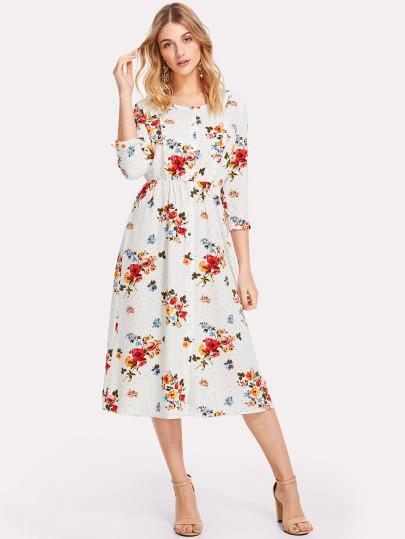SHEIN 3/4 Sleeve Button Up Floral Dress