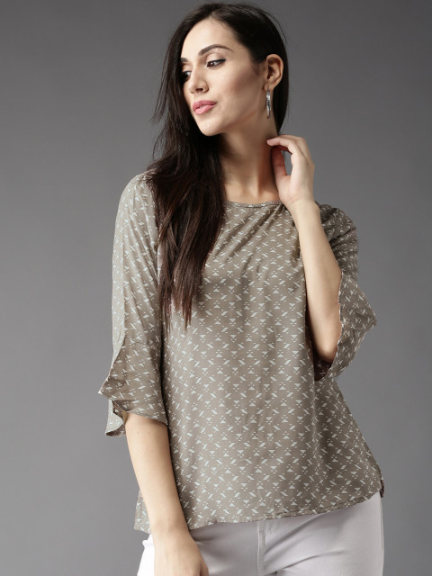 HERE&NOW Women Taupe & Off-White Printed Top