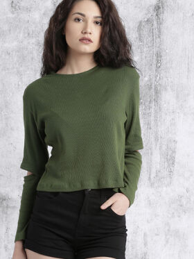 Roadster Women Olive Green Solid Top