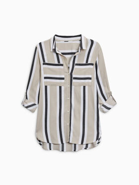 Women Beige & Black Regular Fit Striped Casual Shirt