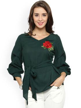 Women Green Solid Top