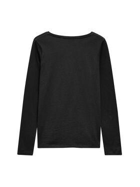 Women Black Solid Round Neck T-shirt