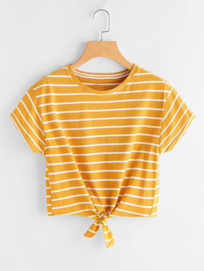 SHEIN Striped Knot Front Tee