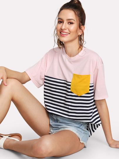 SHEIN Pocket Patched Striped Tee