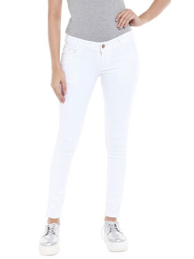 High Star Women White Slim Fit Mid-Rise Clean Look Stretchable Jeans