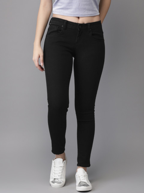 Moda Rapido Women Black Skinny Fit Mid-Rise Clean Look Stretchable Ankle Length Jeans